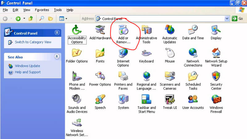 Uninstall Any Video Converter Free in Windows XP PC/laptop